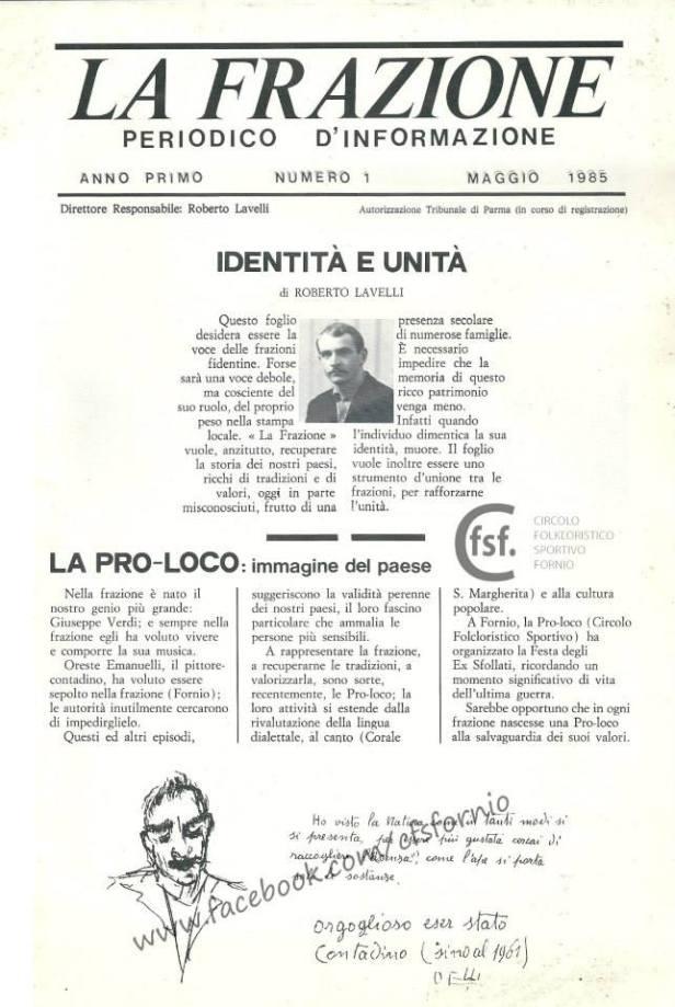 Edizione 1985 del notiziario del CFSF